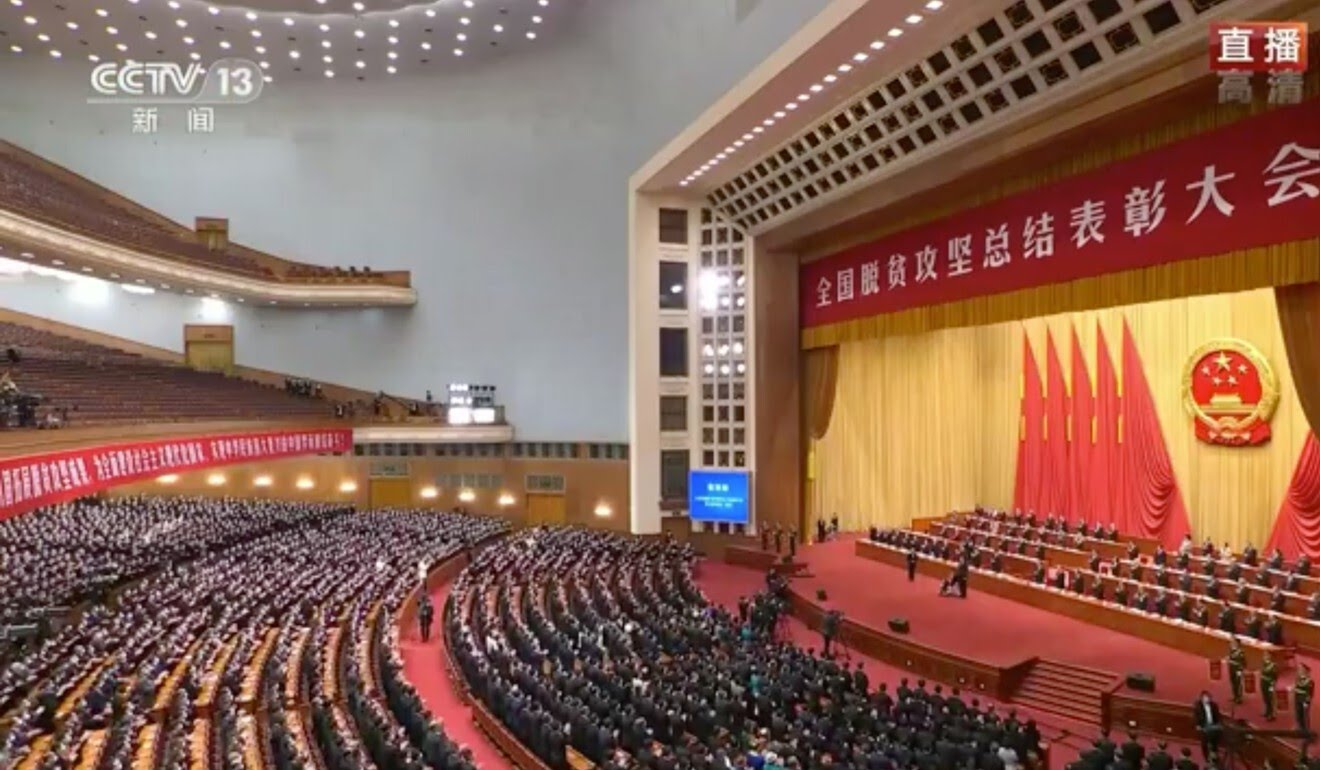 The ceremony in Beijing on Thursday was broadcast live on state television. Photo: CCTV