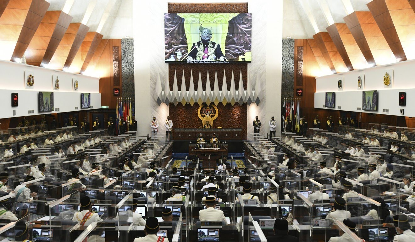 Malaysia's king speaks during the opening of parliament in Kuala Lumpur on Monday. Photo: Malaysia's Department of Information via AP